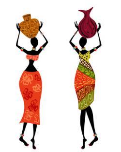 荷物を頭に乗せるアフリカ人女性