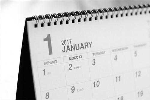 カレンダーの1月